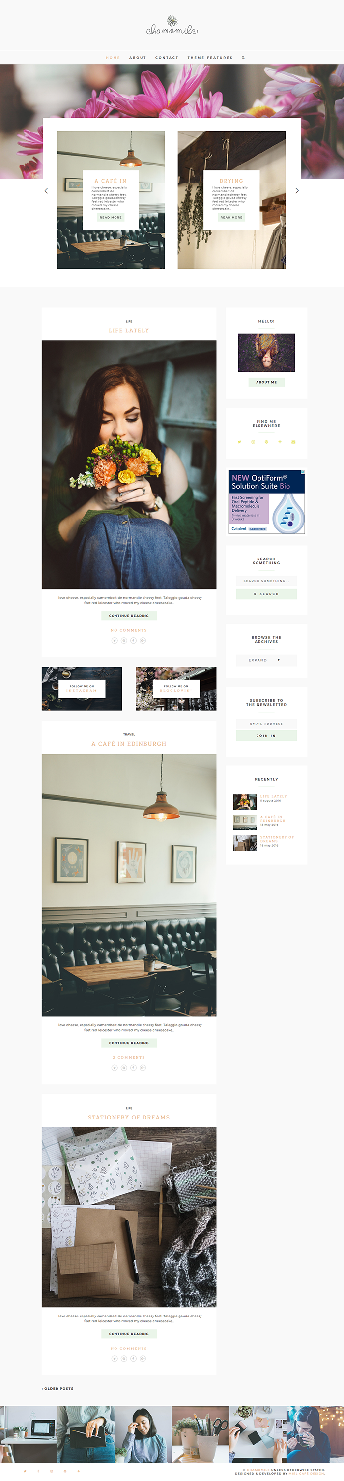 Chamomile Semi-Custom WordPress Theme - Miel Café Design