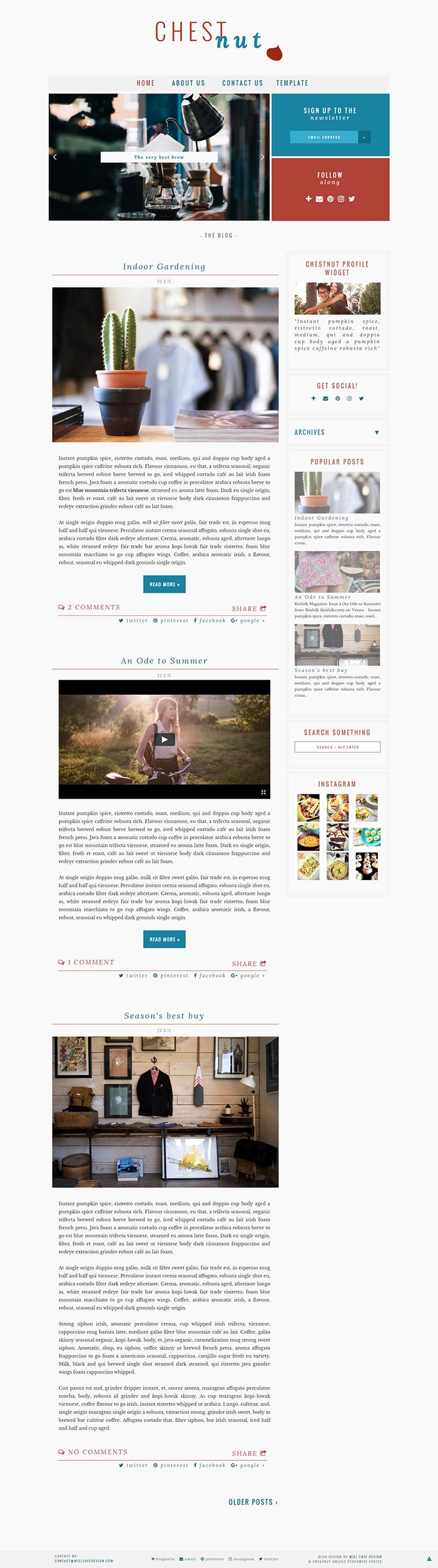 Chestnut Semi-Custom Blogger Template - Miel Café Design