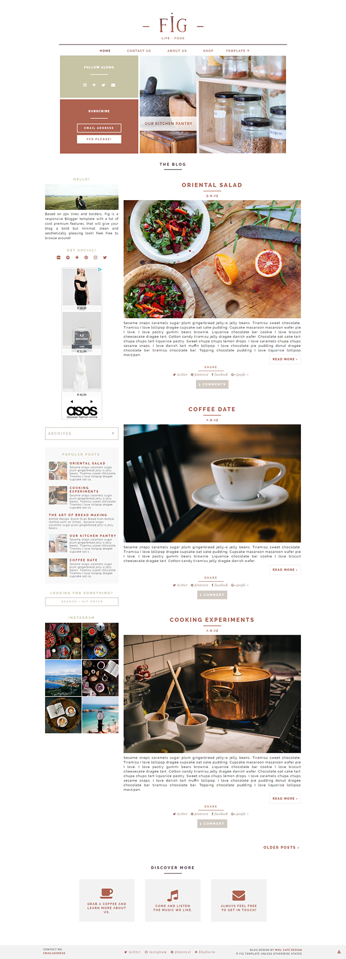 Fig Semi-Custom Blogger Template - Miel Café Design