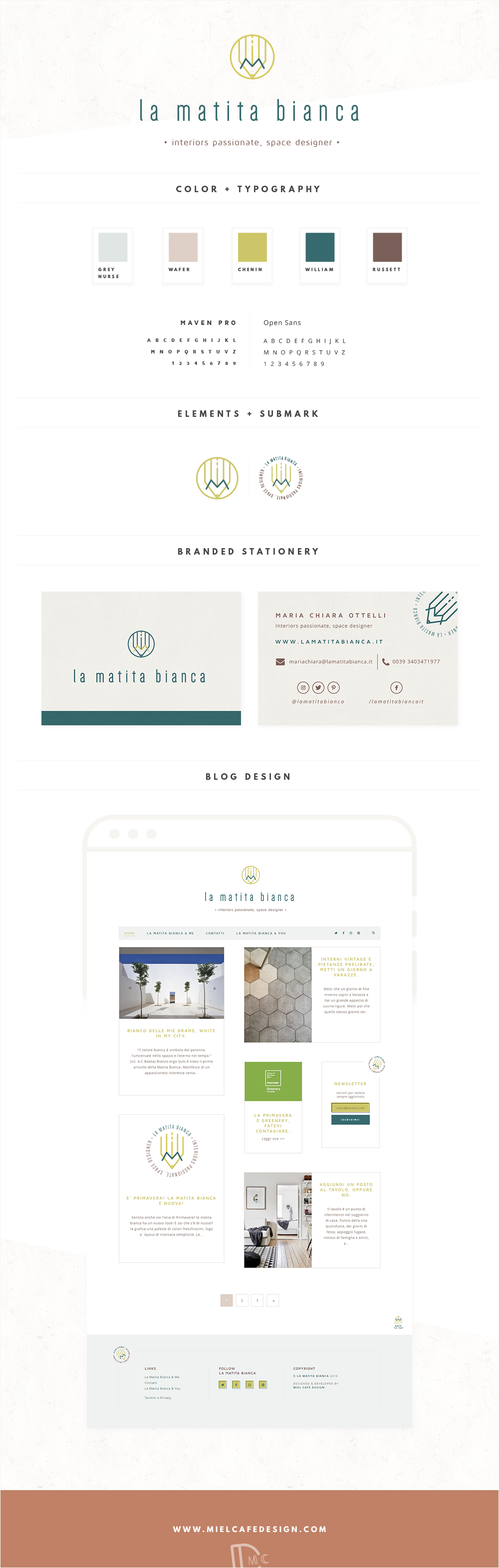 La Matita Bianca Custom Blog Design + Branded Stationery
