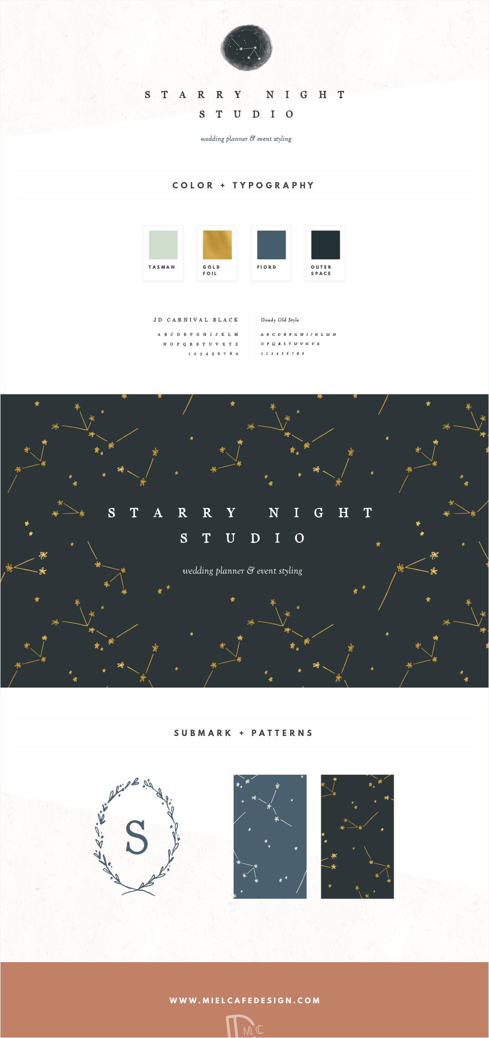 Starry Night Studio Wedding Planner Brand Identity Custom Logo Design