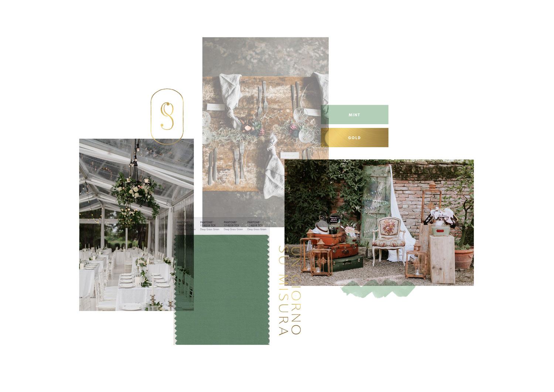 Miel Café Design Portfolio: Moodboard elegante menta e oro per wedding planner Un Giorno Su Misura