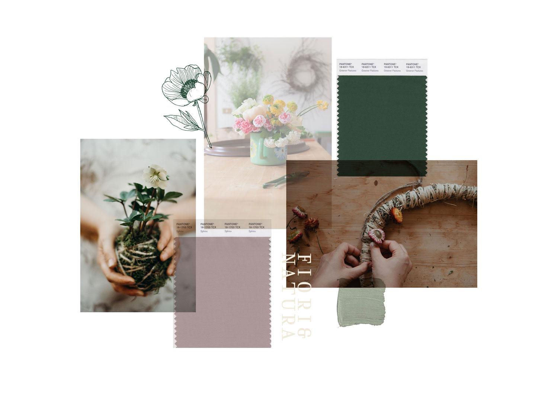 Miel Café Design Portfolio: Moodboard floreale verde e malva per floral designer Daisy Studio