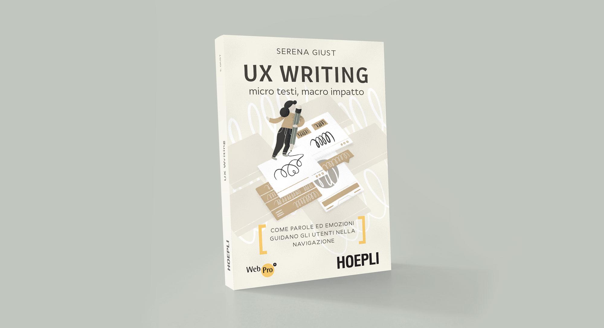 Miel Café Design Portfolio: Illustrazione copertina libro UX Writing per UX Writer Serena Giust