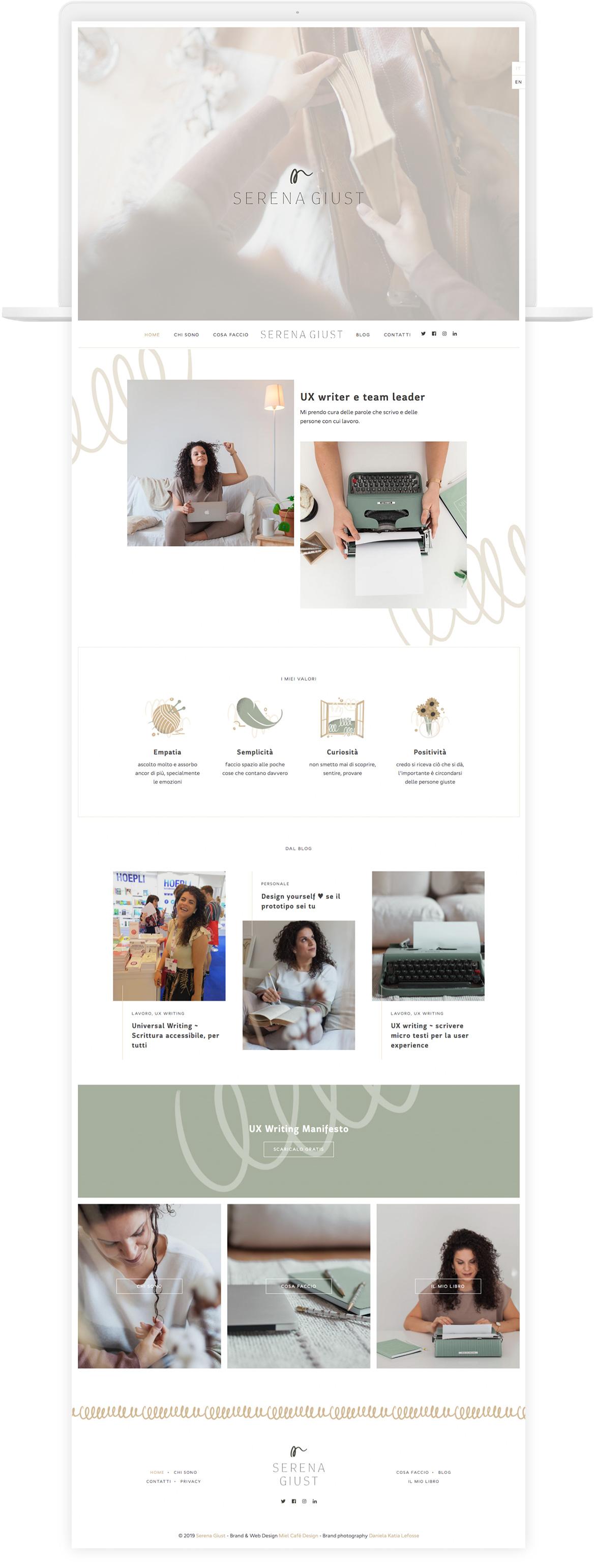 Miel Café Design Portfolio: Web design minimal e moderno per UX Writer Serena Giust