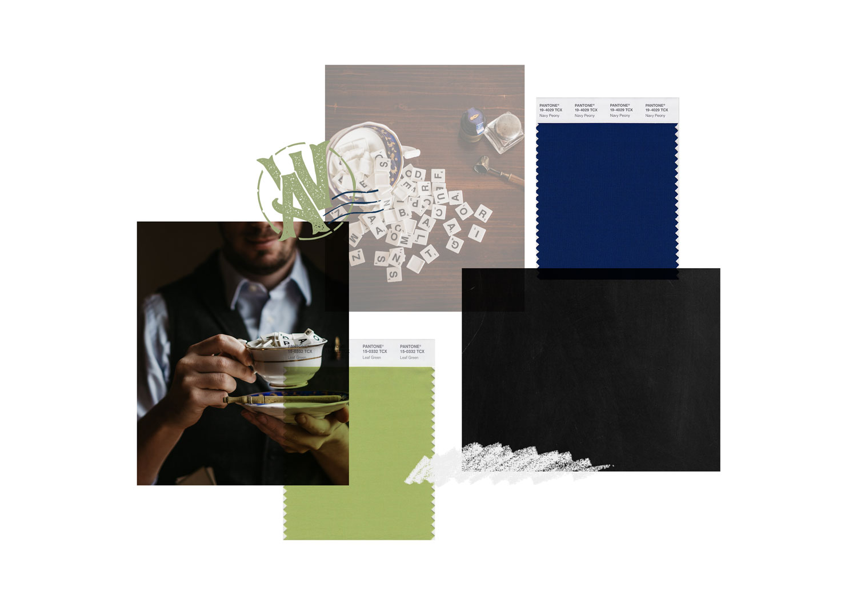 Miel Café Design Portfolio: Moodboard hipster verde navy per copywriter Adige Words Café