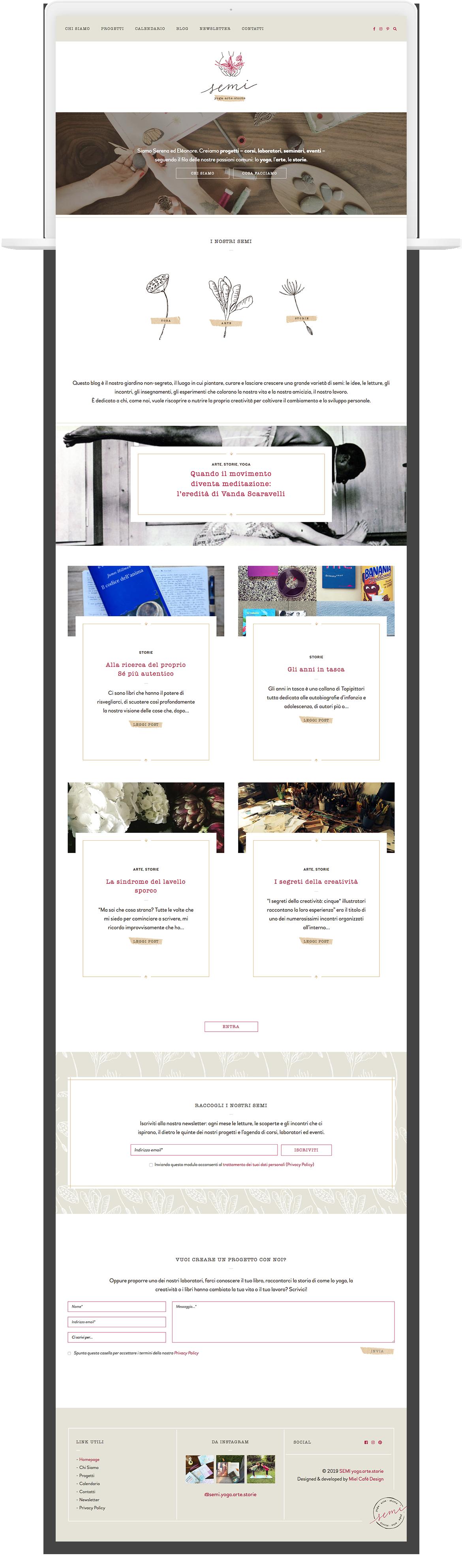 Miel Café Design Portfolio: Web design moderno botanico per SEMI Yoga, Arte, Storie