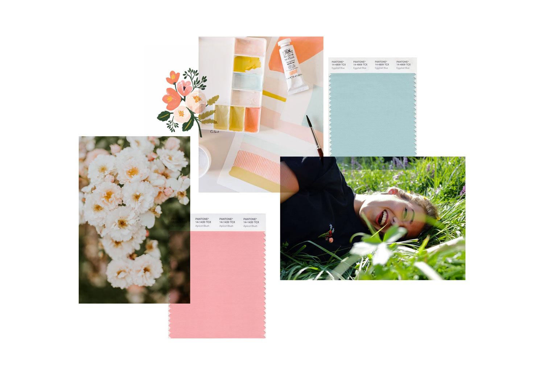 Miel Café Design Portfolio: Moodboard pastello floreale per brand di ricamo handmade Fioricami