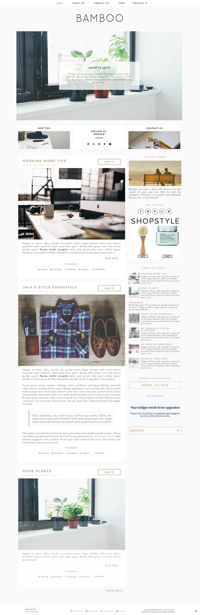 Bamboo Semi-Custom Blogger Template - Miel Café Design