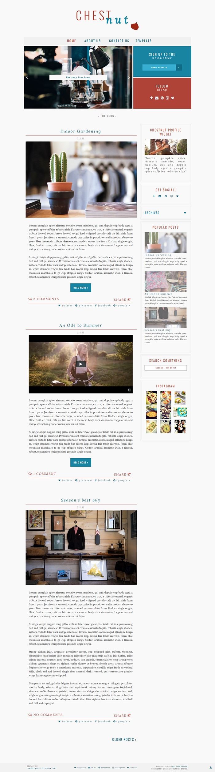 Chestnut Semi-Custom Blogger Template - Miel Café Design