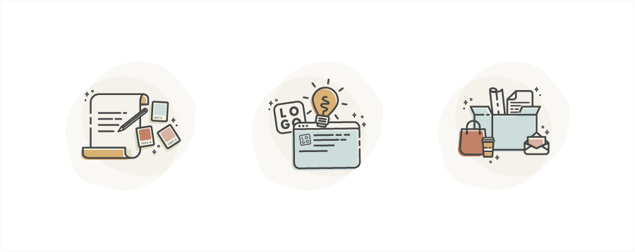 Illustrations as branded visuals to explain your process and services