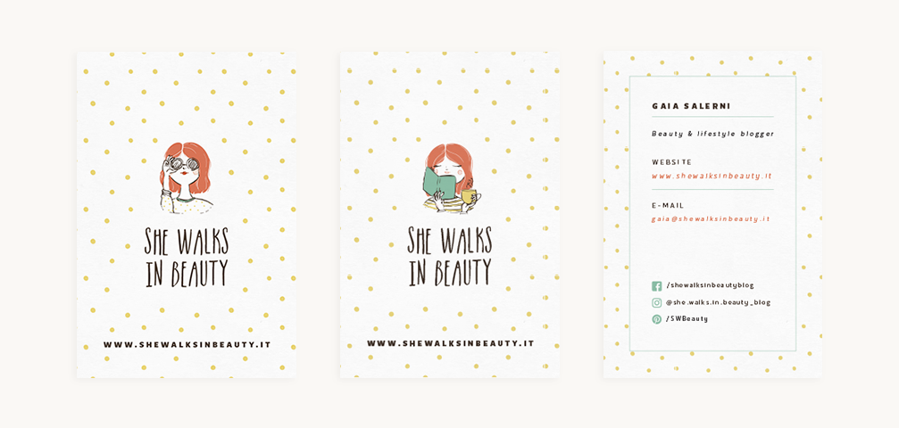 Branding For Lifestyle Blog She Walks In Beauty Business Cards Branded Stationery