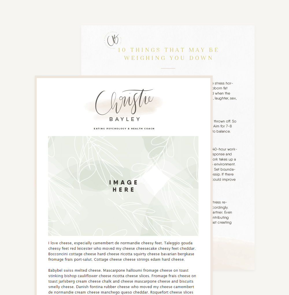 Branding And Website For Health Coach Christie Bayley - Newsletter & eBook