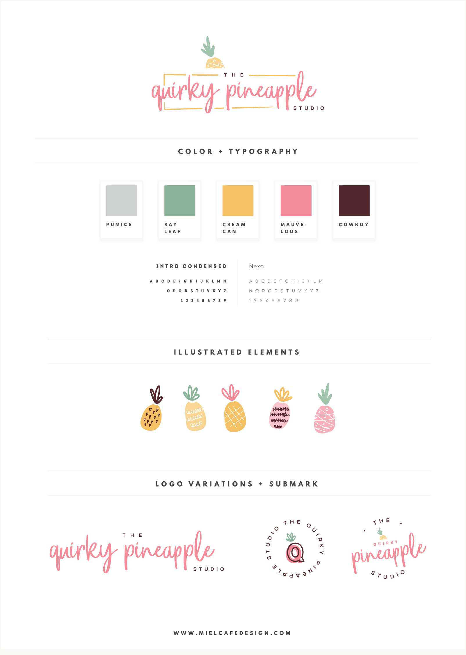 Branding & Website for Storyteller The Quirky Pineapple Studio Final Brand Board