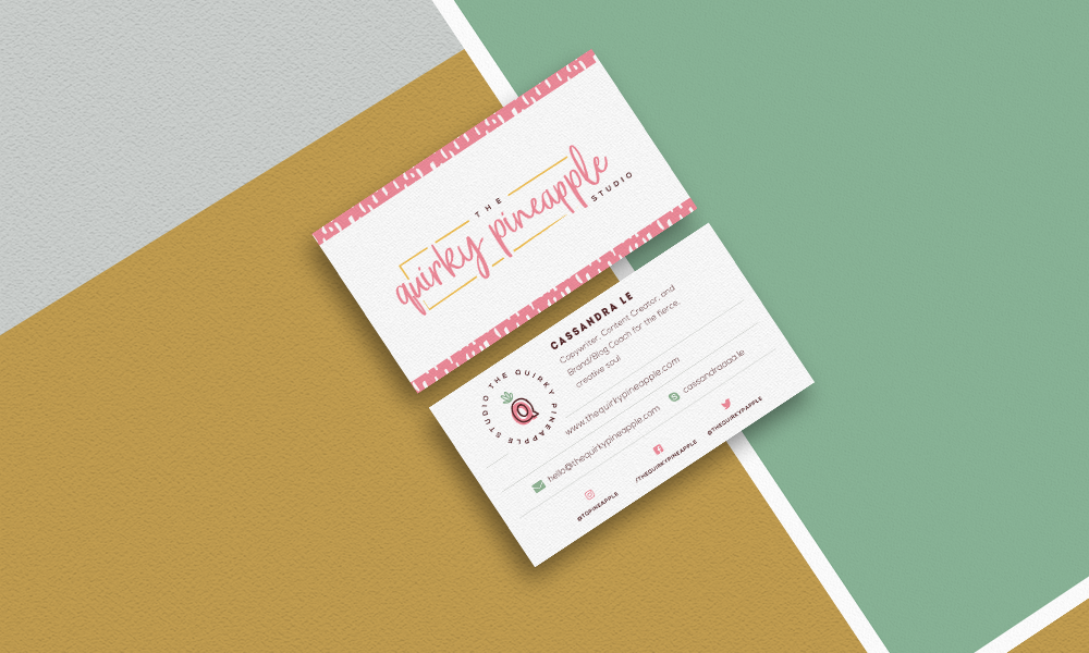 Branding & Website for Storyteller The Quirky Pineapple Studio Branded Stationery Business Cards