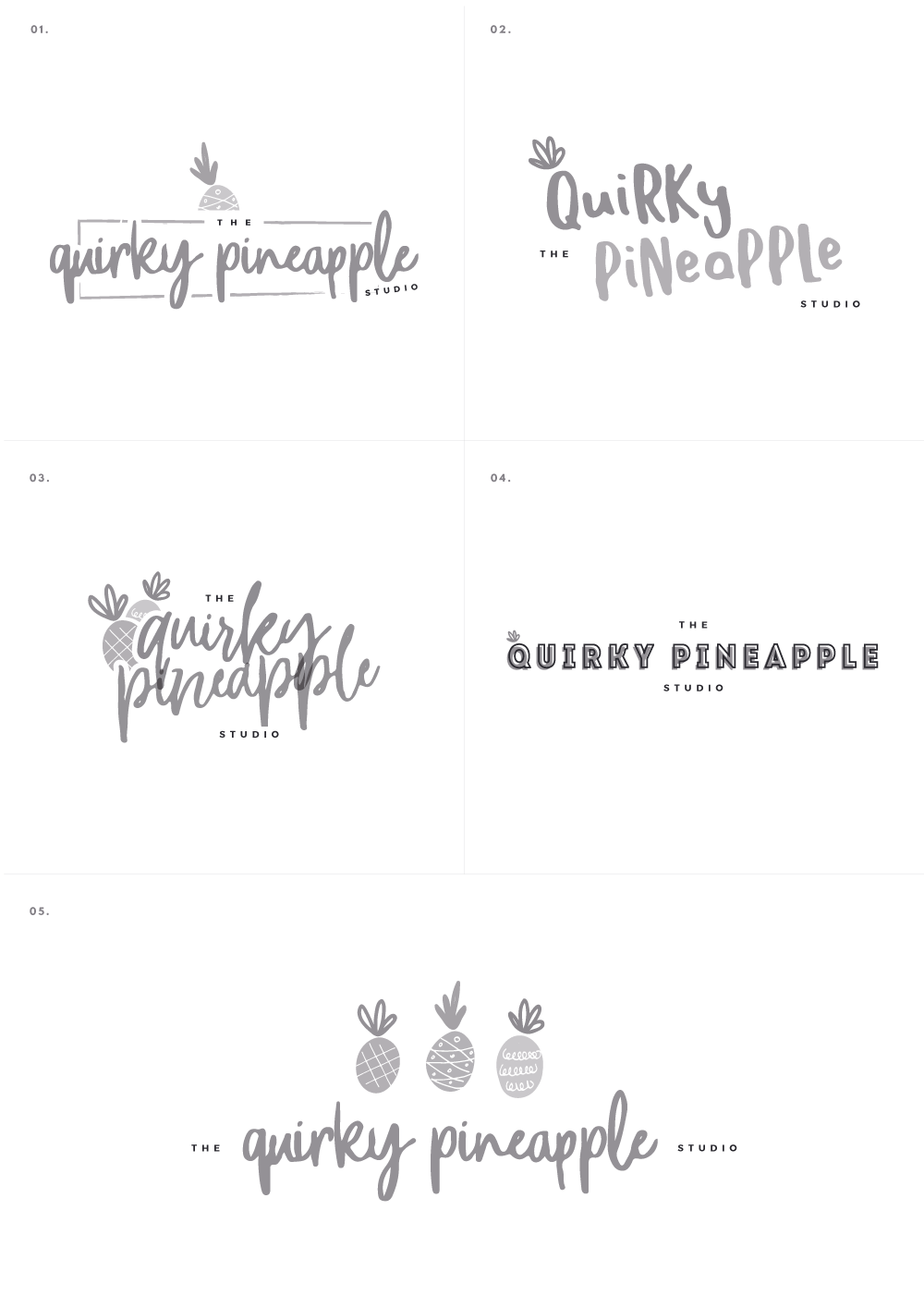 Branding & Website for Storyteller The Quirky Pineapple Studio Logo Concept Options