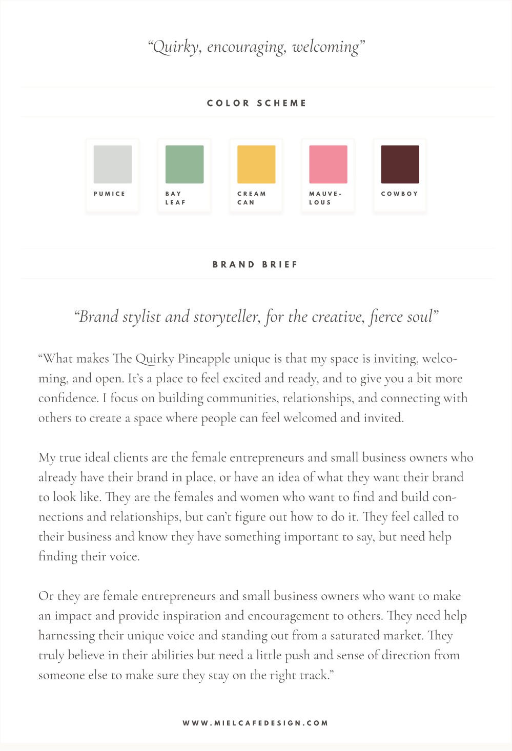 Branding & Website for Storyteller The Quirky Pineapple Studio Mini Brand Board Color Palette
