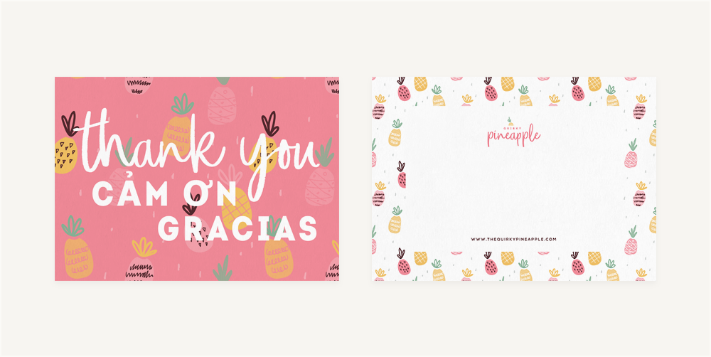 Branding & Website for Storyteller The Quirky Pineapple Studio Branded Stationery Thank You Cards