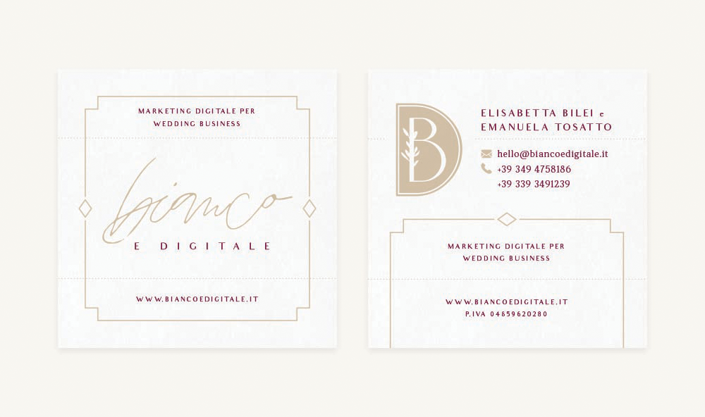 Branding and Web Design For Business Coaches Bianco e Digitale - Business Cards Gold Foil