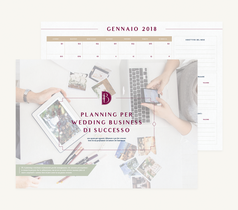 Branding and Web Design For Business Coaches Bianco e Digitale - Downloadable Business Planner