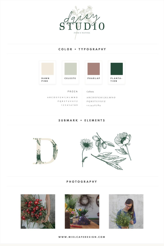 Rebranding For Floral Designer Daisy Studio Complete Brand Board