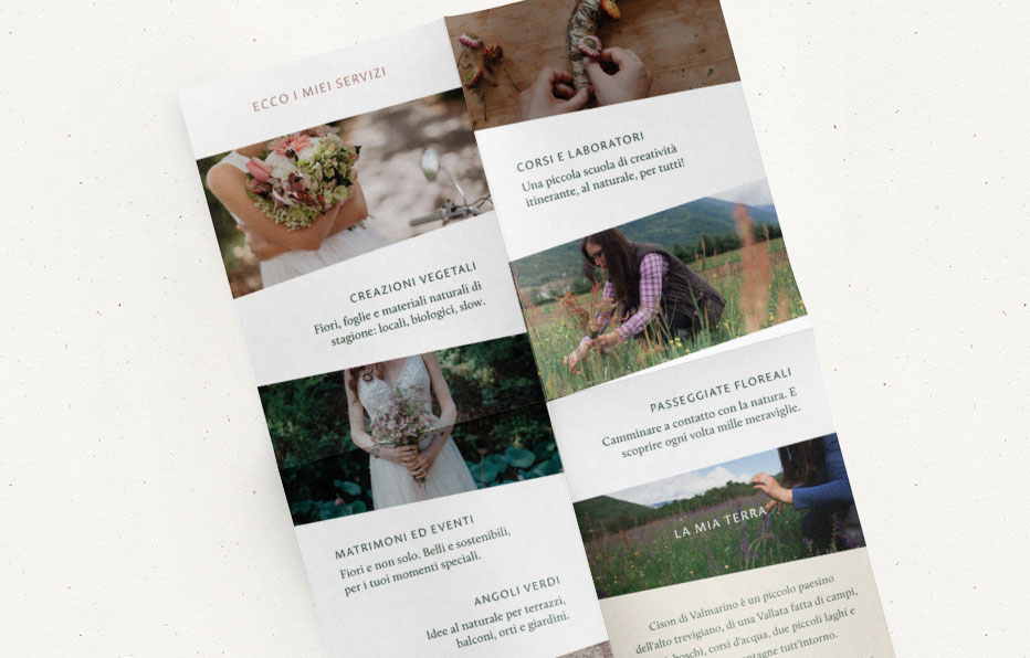 Rebranding For Floral Designer Daisy Studio Marketing Pieces Stationery A4 Folded Brochure