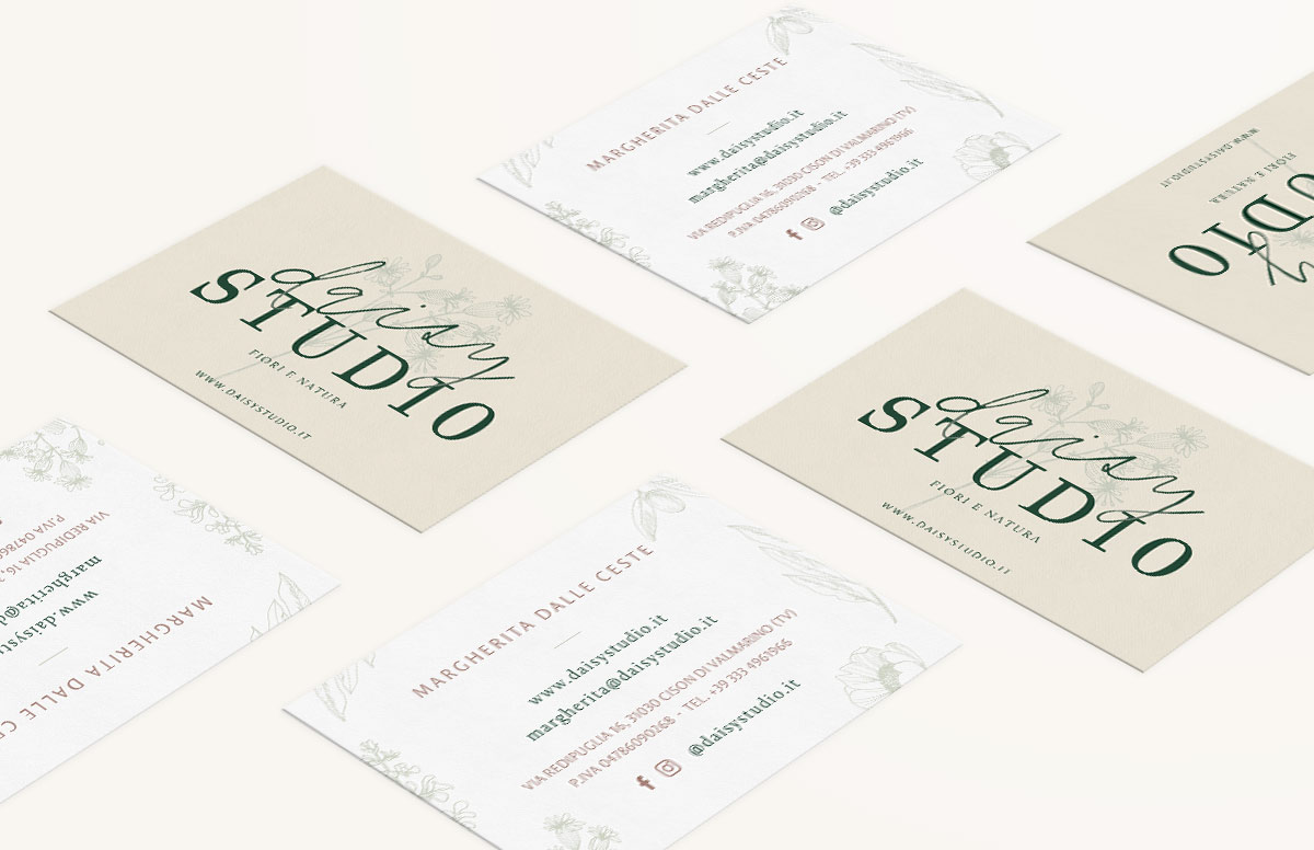 Rebranding For Floral Designer Daisy Studio Marketing Pieces Stationery Business Card