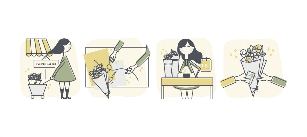 Branding for flower delivery service Project Posy Illustrated Digital Icons