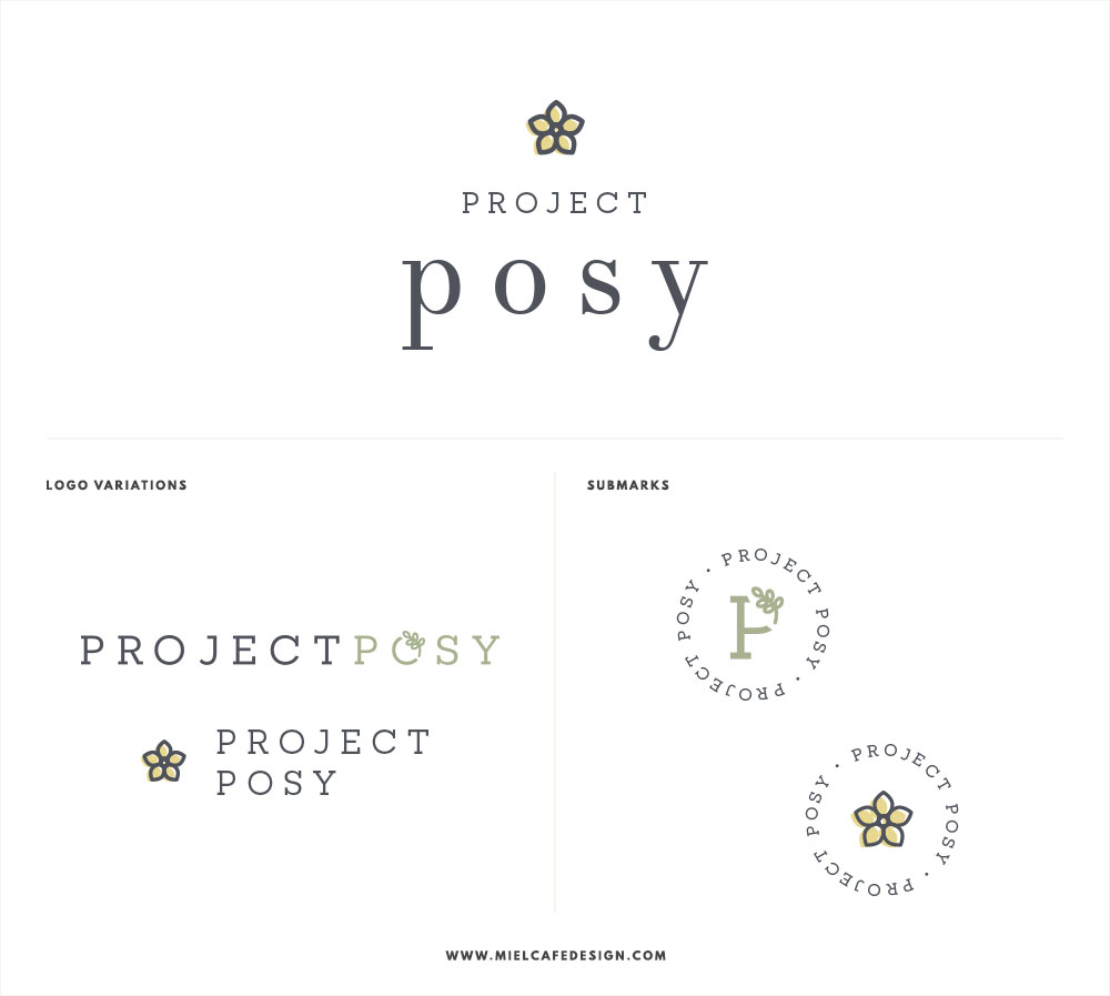 Branding for flower delivery service Project Posy Logo Design + Logo Variations and Submarks