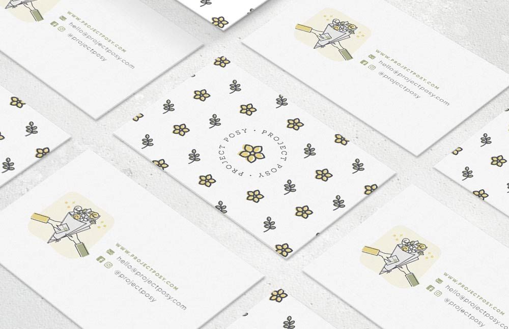 Branding for flower delivery service Project Posy Pattern Business Cards