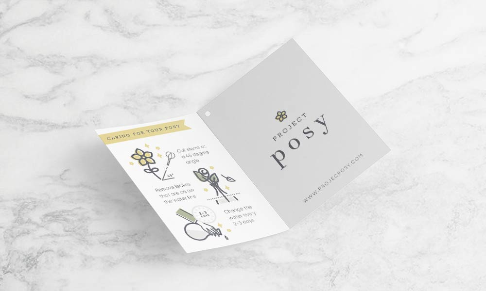 Branding for flower delivery service Project Posy Product Packaging Tags