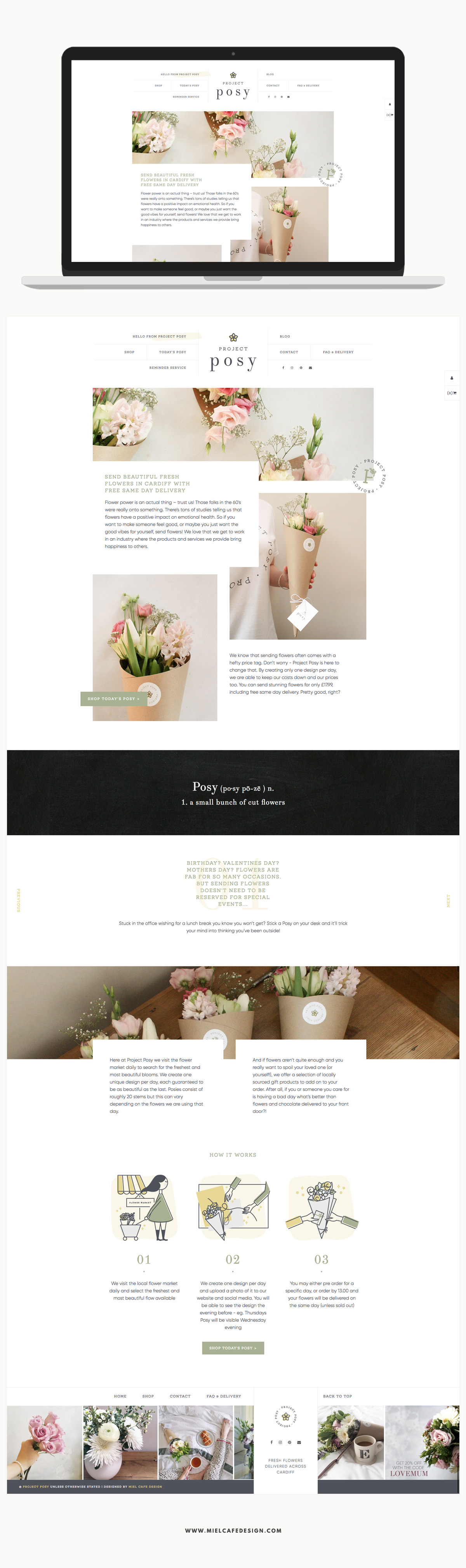 Branding for flower delivery service Project Posy Web Design