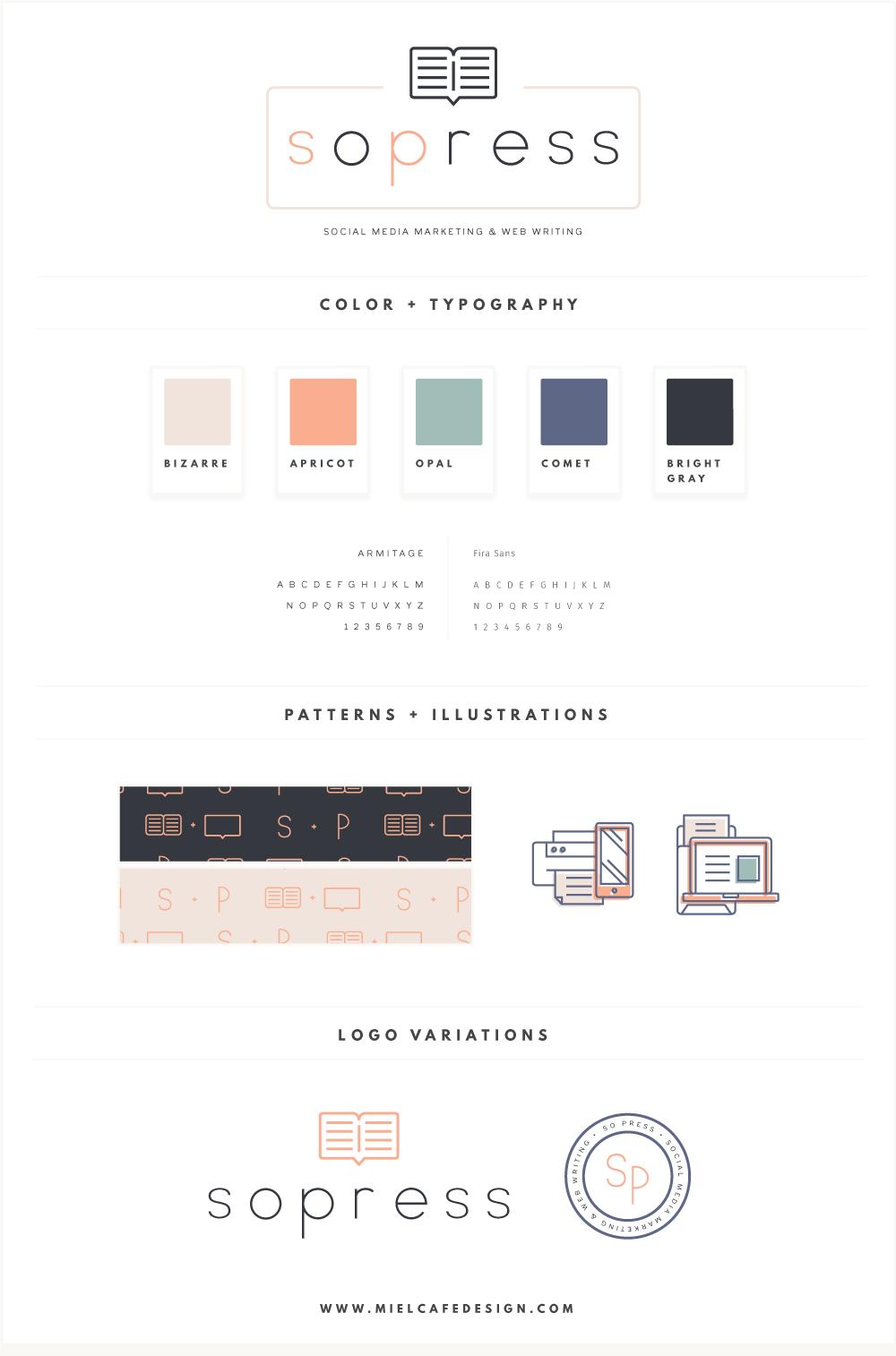 Portfolio: Branding For Social Media Manager SoPress Final Brand Board - Miel Café Design