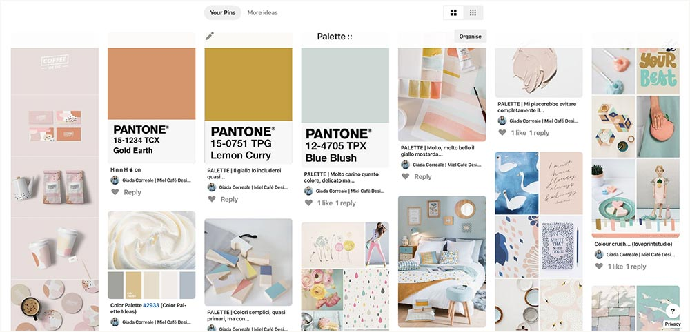 Portfolio: Branding For Social Media Manager SoPress Inspiration Board - Miel Café Design