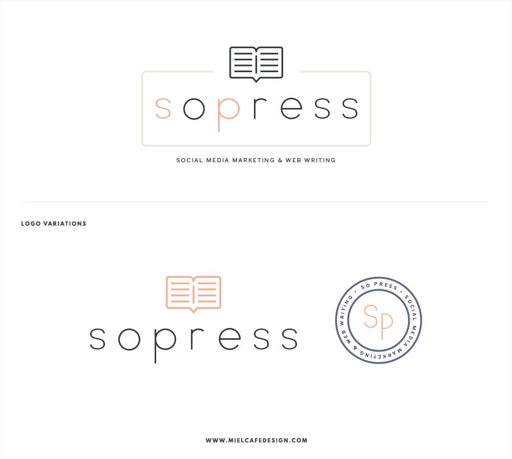 Portfolio: Branding For Social Media Manager SoPress Logo Variations - Miel Café Design
