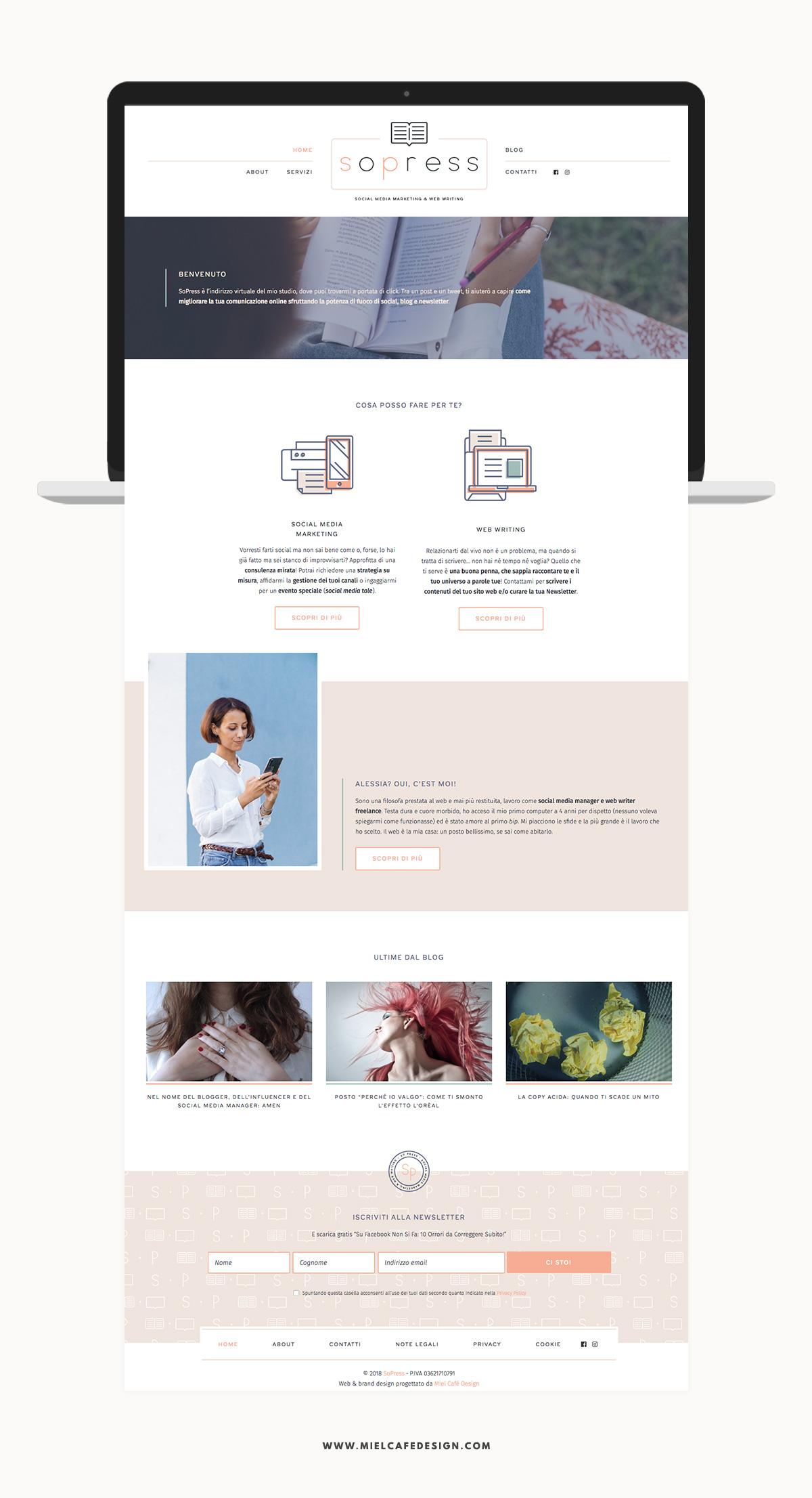 Portfolio: Branding For Social Media Manager SoPress Web Design - Miel Café Design