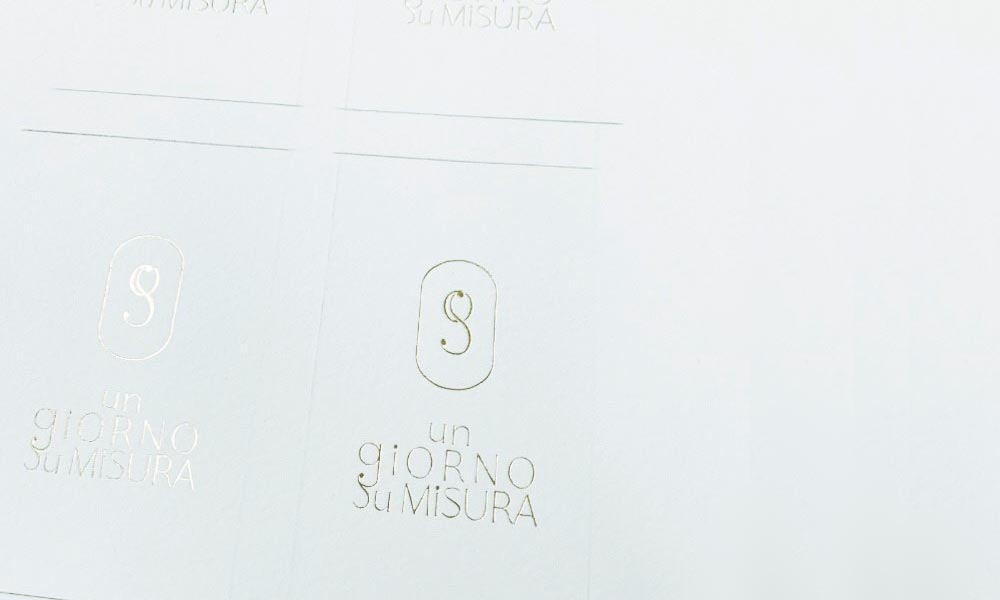 Testing business card design branded stationery logo design for wedding planner Un Giorno Su Misura