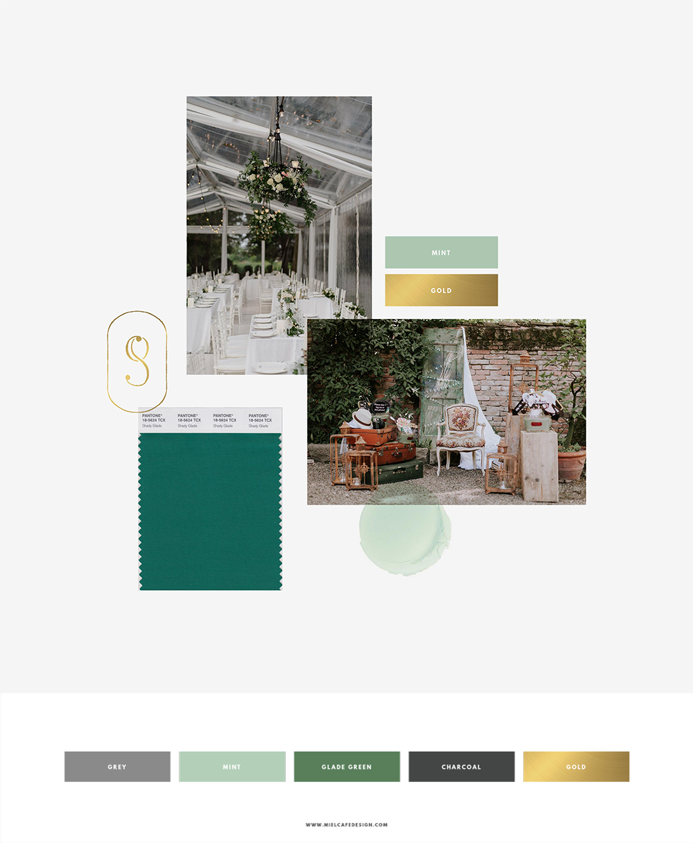 Romantic, luxury, modern color palette and mood board for wedding planner logo Un Giorno Su Misura
