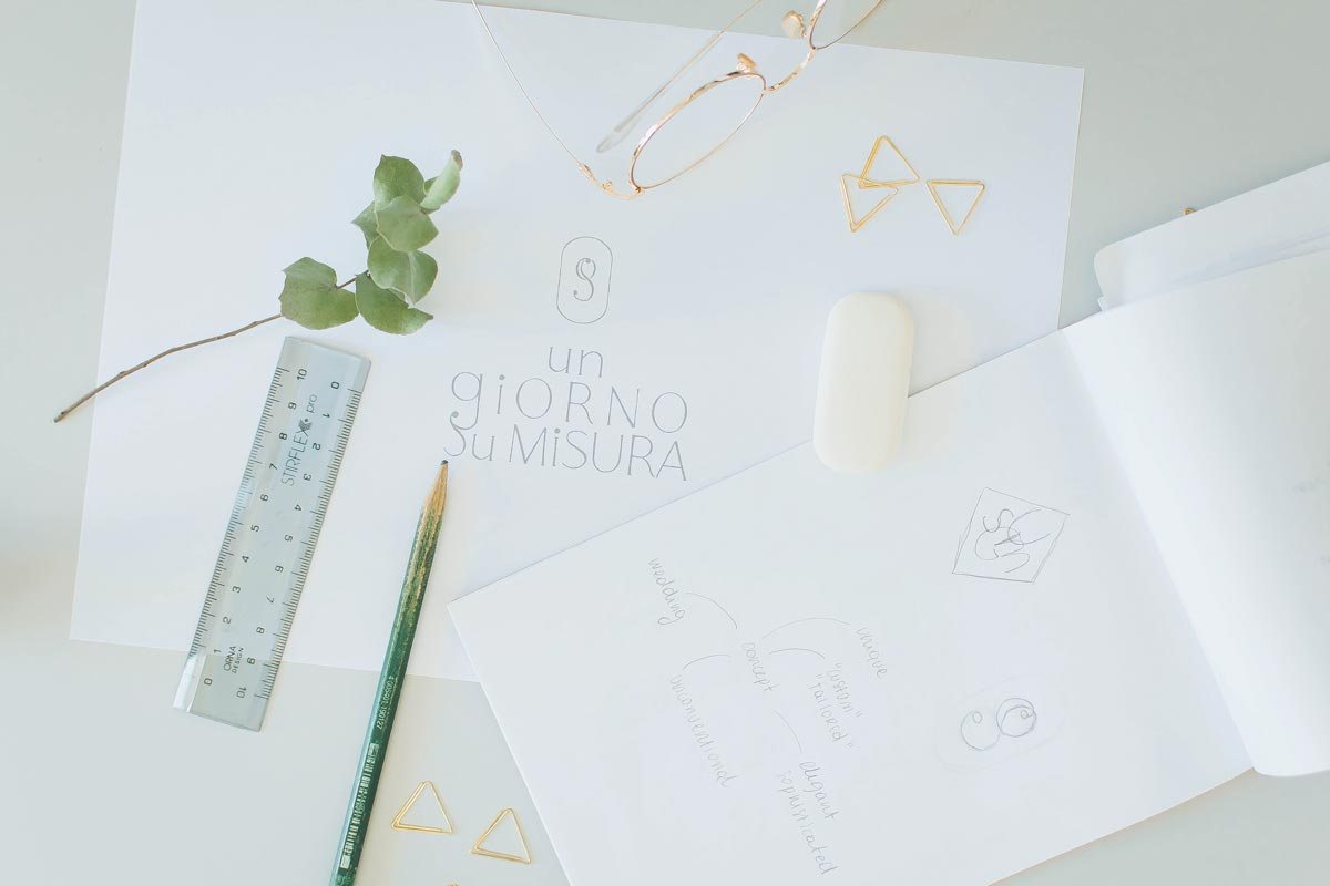 Drafts for logo design and branding for wedding planner Un Giorno Su Misura