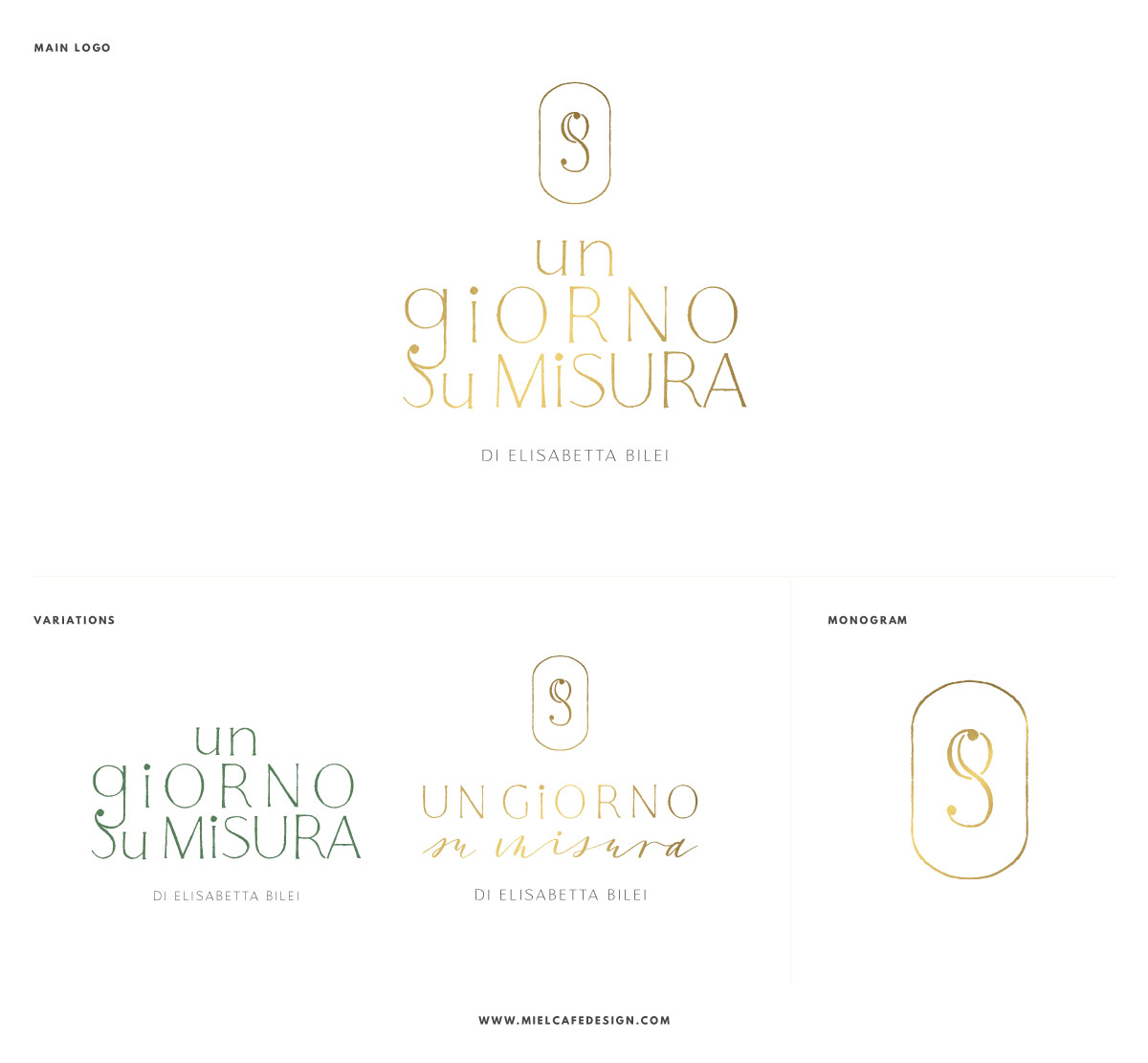 Logo design variations gold foil wedding planner Un Giorno Su Misura