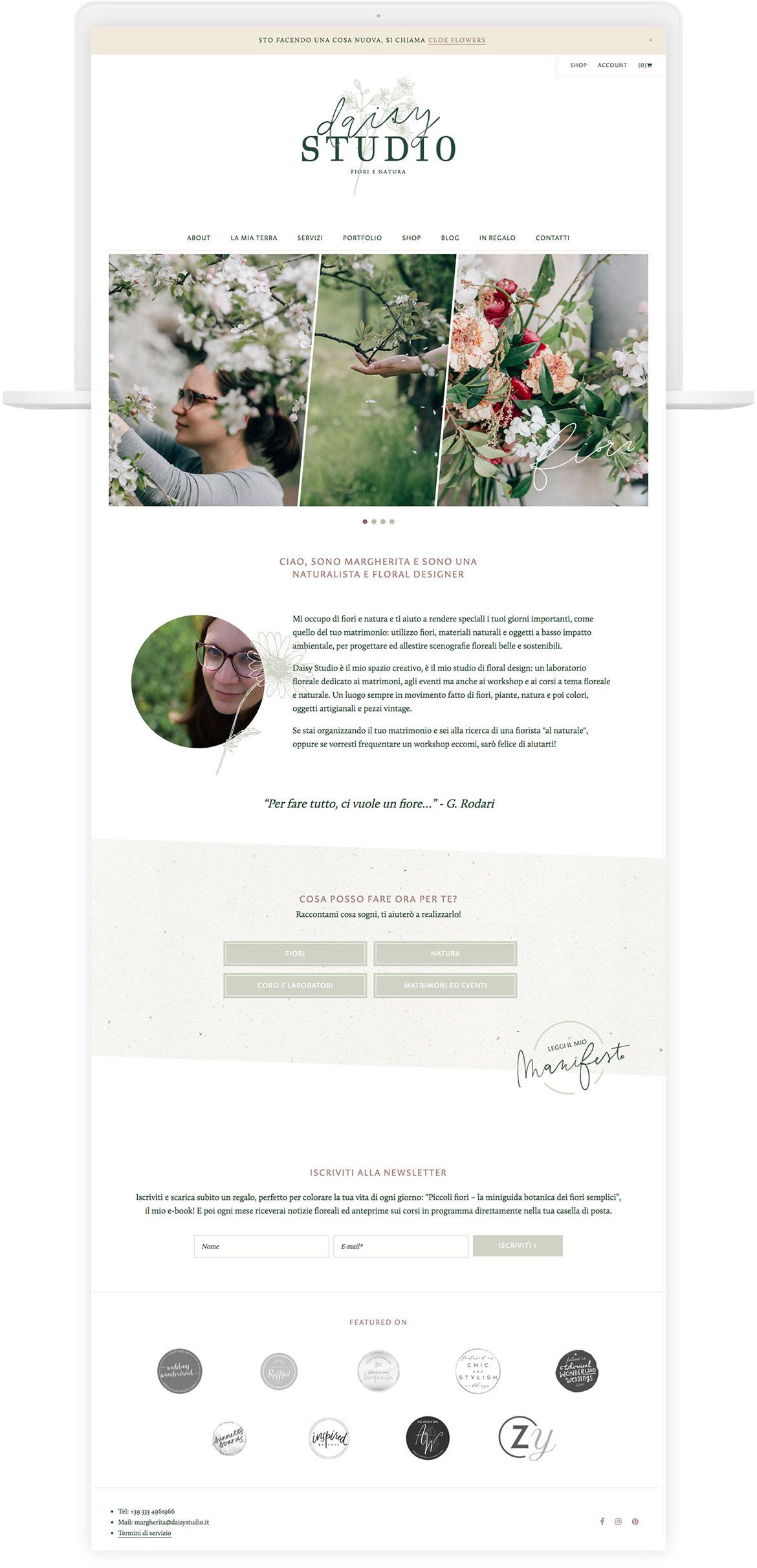 Miel Café Design Portfolio: Floral romantic web design for floral designer Daisy Studio