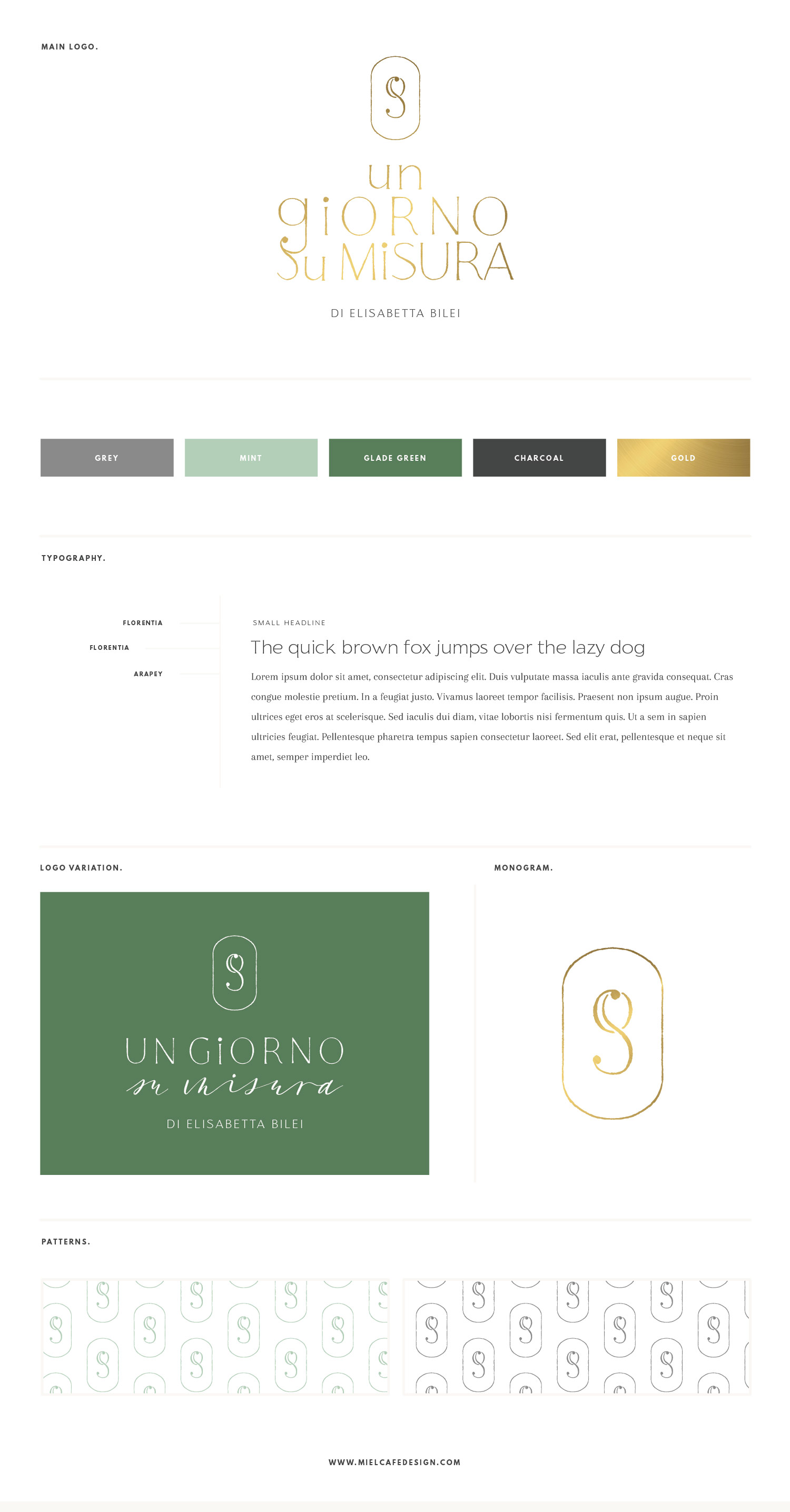 Miel Café Design Portfolio: Elegant and sophisticated mint gold brandboard for Un Giorno Su Misura wedding planner