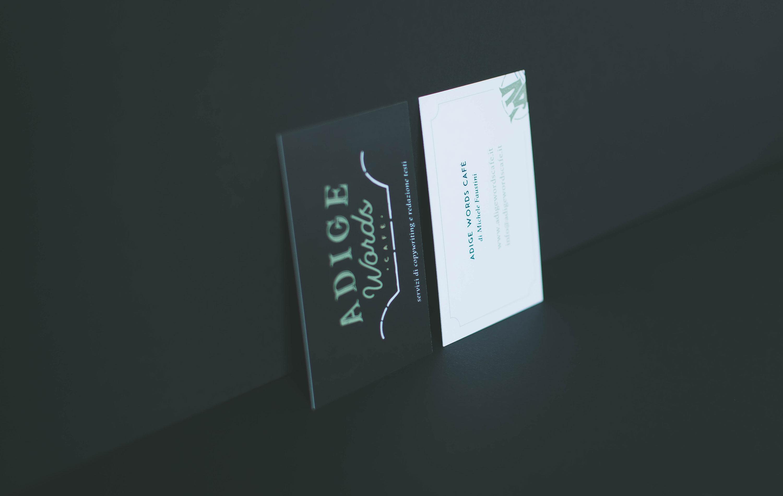 Miel Café Design Portfolio: business card blackboard for copywriter Adige Words Café