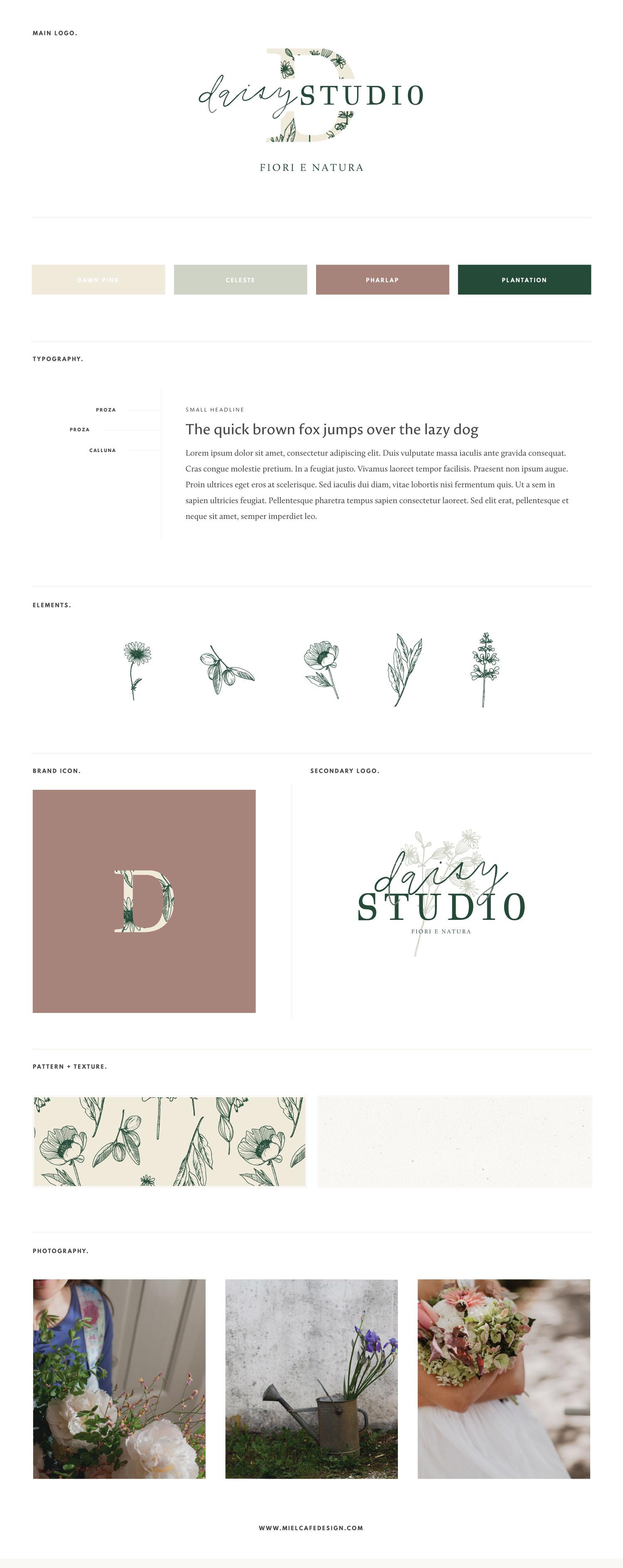 Miel Café Design Portfolio: Floral botanical brand board for floral designer Daisy Studio