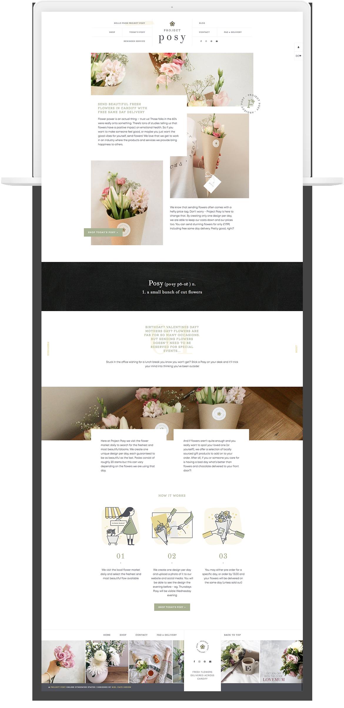 Miel Café Design Portfolio: Website for Project Posy flower delivery service