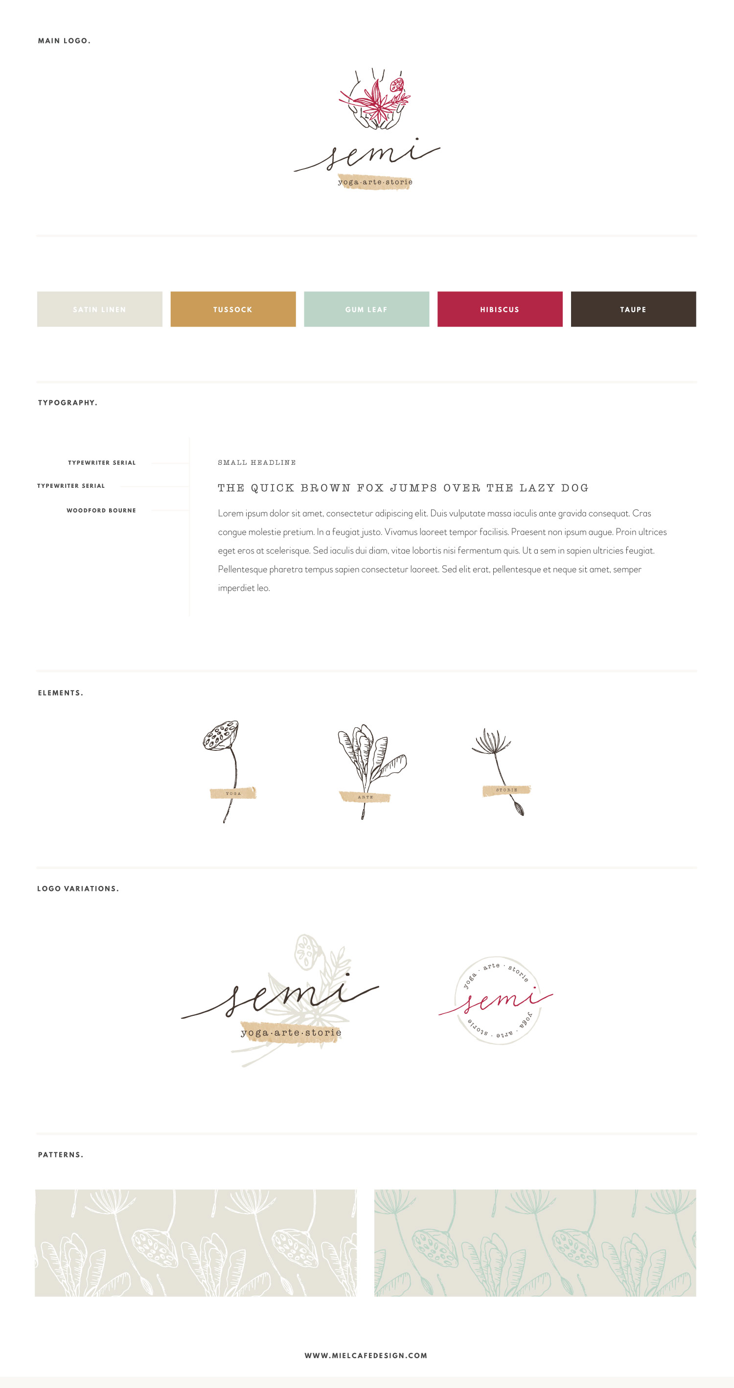 Miel Café Design Portfolio: botanical brand board for SEMI Yoga, Arte, Storie
