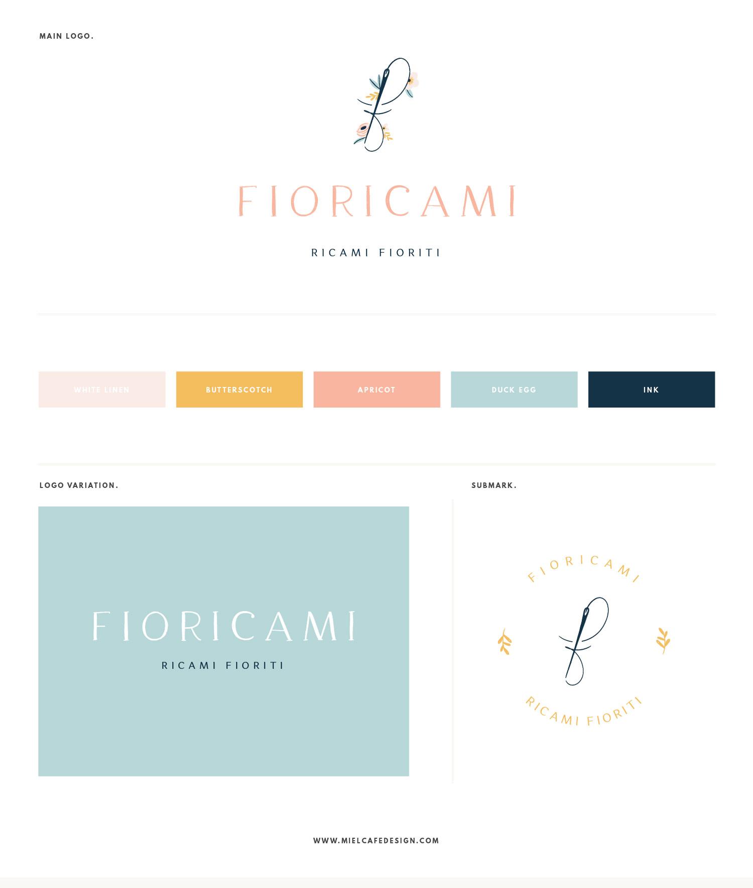 Miel Café Design Portfolio: Floral pastel brand board for Fioricami handmade embroidery brand
