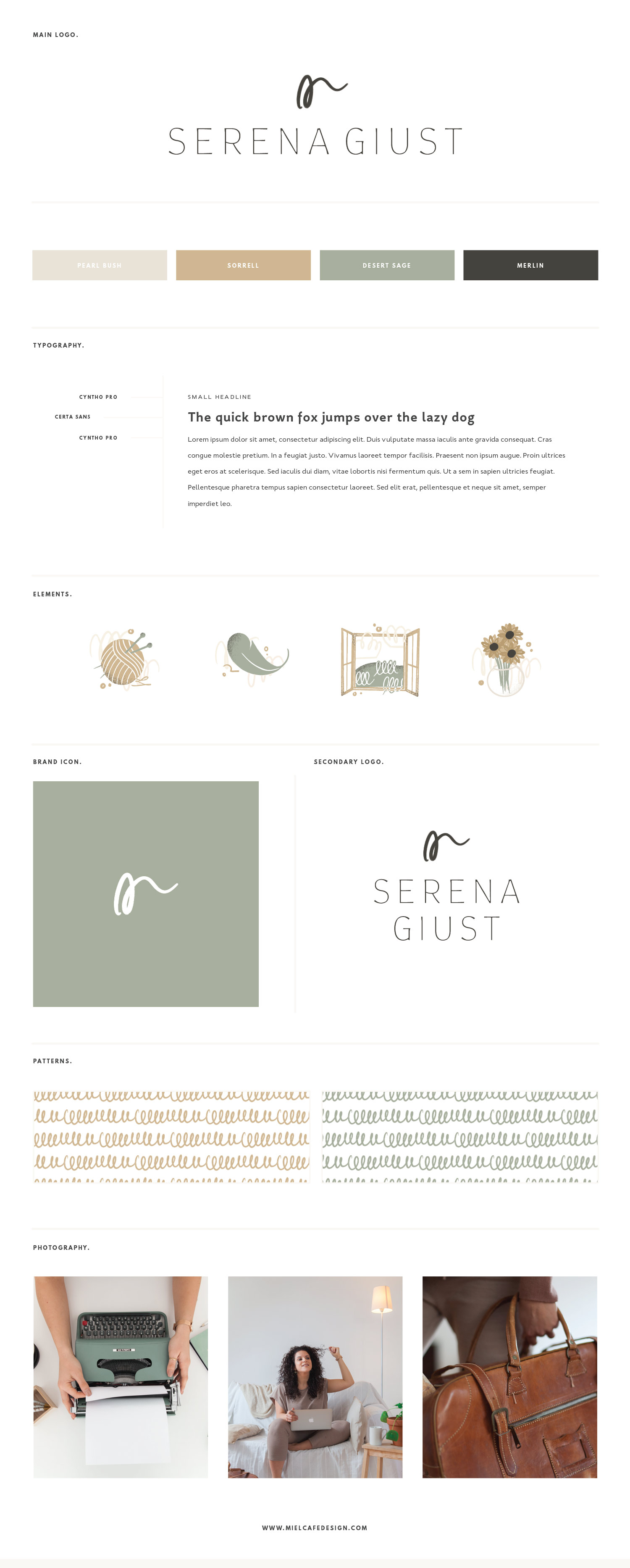Miel Café Design Portfolio: minimal sleek Brand board for Serena Giust UX Writer