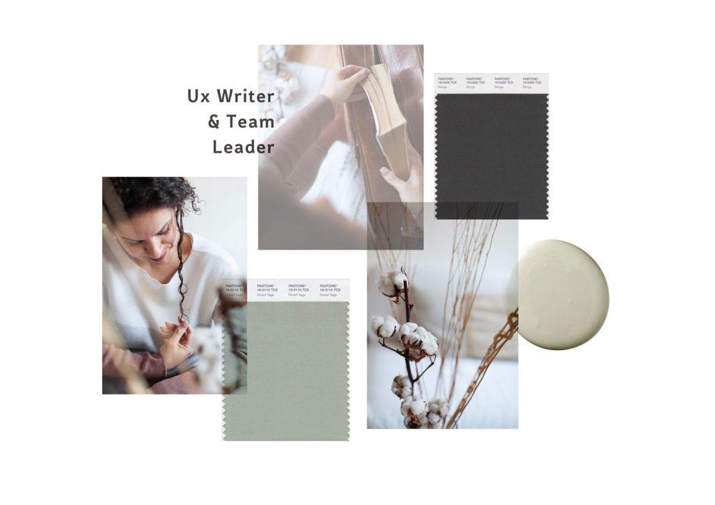 Miel Café Design Portfolio: Minimal sage mood board for Serena Giust UX Writer