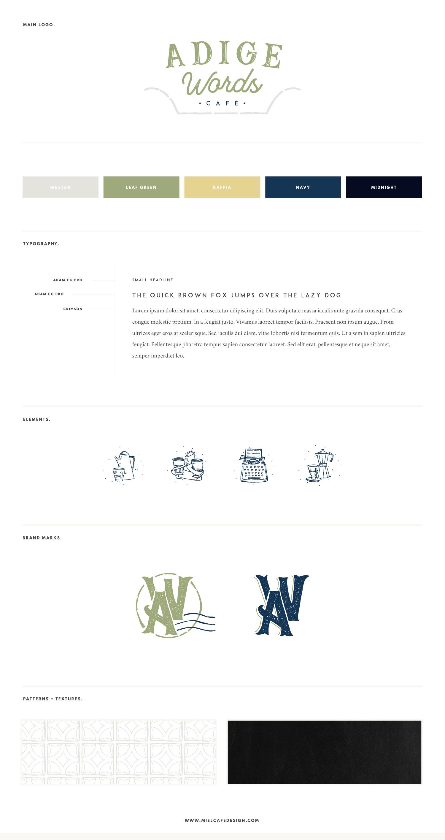Miel Café Design Portfolio: cafè-themed hipster brand board for copywriter Adige Words Café